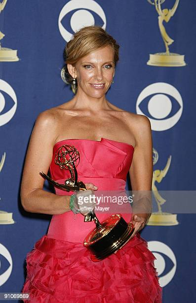 Actress Toni Collette attends the press room at the 61st Annual Primetime Emmy Awards at the Nokia Theatre LA Live on September 20 2009 in Los...
