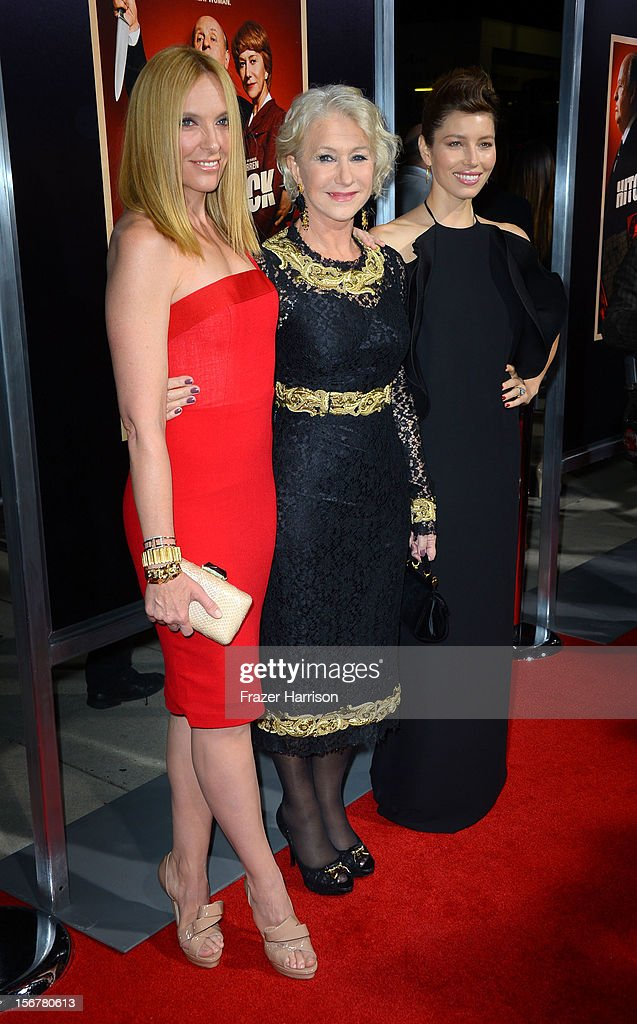 Actress Toni Collette, Dame Helen Mirren and actress Jessica Biel arrive at the Premiere Of Fox Searchlight Pictures' 'Hitchcock' at AMPAS Samuel Goldwyn Theater on November 20, 2012 in Beverly Hills, California.