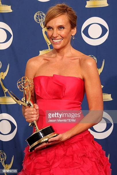 Actress Toni Collette poses in the press room with her Emmy for Outstanding Lead Actress in a Comedy Series for United States of Tara at the 61st...