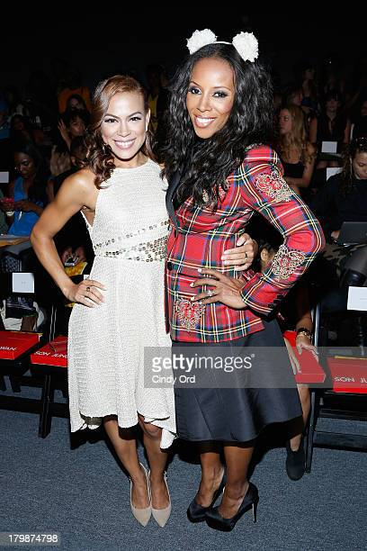 Actress Toni Trucks and June Ambrose attend the Son Jung Wan fashion show during MercedesBenz Fashion Week Spring 2014 at The Studio at Lincoln...