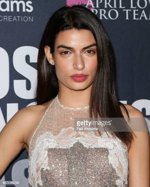 Actress Tonia Sotiropoulou attends the Domingo Zapata Fashion Show at the Los Angeles Fashion Week 10th season anniversary at The MacArthur on March...