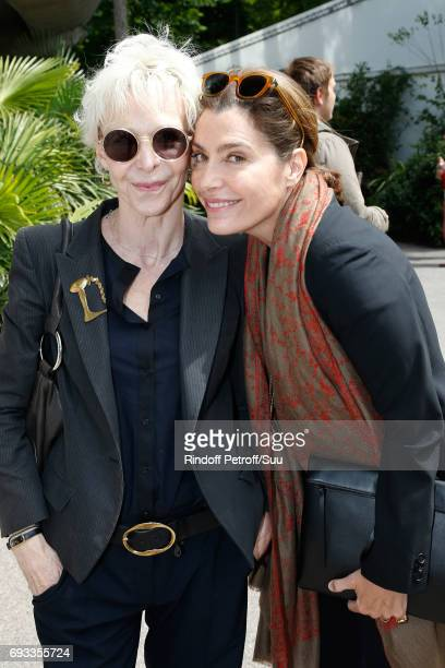 Actress Tonie Marshall and journalist Daphne Roulier attend the 2017 French Tennis Open Day Eleven at Roland Garros on June 7 2017 in Paris France
