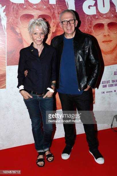 Actress Tonie Marshall and stylist JeanPaul Gaultier attend the Guy Paris Premiere at Gaumont Capucines on August 28 2018 in Paris France