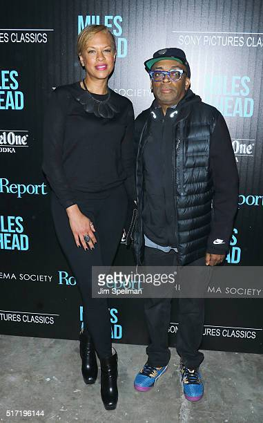 Actress Tonya Lewis Lee and director Spike Lee attend The Cinema Society with Ketel One and Robb Report host a screening of Sony Pictures Classics'...
