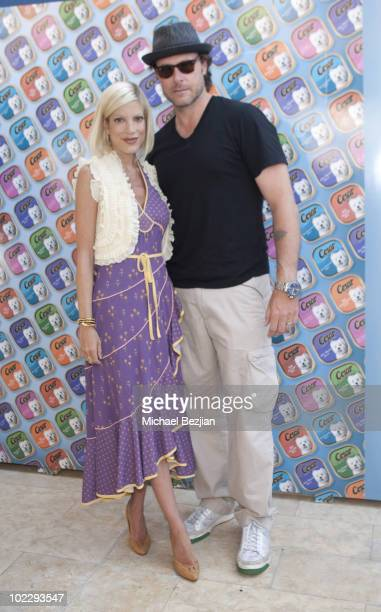 Actress Tori Spelling and actor Dean McDermott attend day 2 of Cesar Canine Cuisine at the Kari Feinstein MTV Movie Awards Style Lounge at Montage...