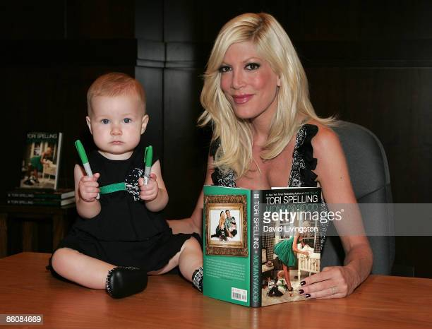 Actress Tori Spelling and daughter Stella Doreen McDermott attend a signing for Spelling's book Mommywood at Barnes Noble Booksellers at The Grove on...