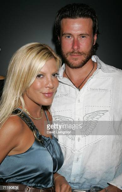 Actress Tori Spelling and her husband actor Dean McDermott attend Linea Pelle's 20th anniversary celebration at the Pacific Design Center on June 12...