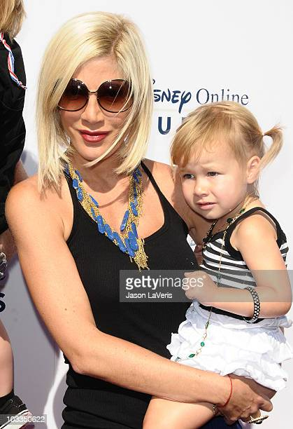 Actress Tori Spelling and Stella McDermott attend the launch of 'The World Of Cars Online' at Flo's V8 Cafe on August 11 2010 in Burbank California