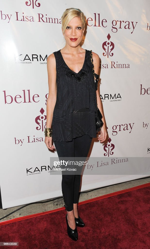 Actress Tori Spelling arrives at Harry Hamlin and Lisa Rinna Celebrate the 7th Anniversary Of Belle Gray Boutique at Belle Gray Boutique on February 12, 2010 in Los Angeles, California.