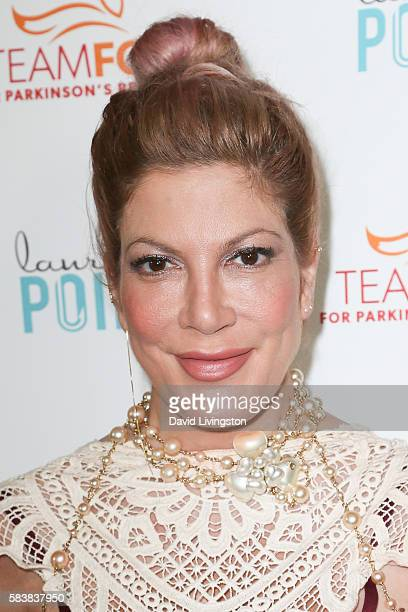 Actress Tori Spelling arrives at Raising The Bar To End Parkinson's at Laurel Point on July 27 2016 in Studio City California