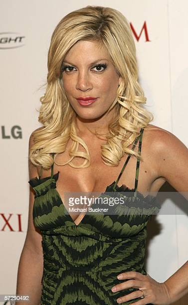 Actress Tori Spelling arrives at the MAXIM Magazine 100th Issue Celebration at the Wynn Resort on April 8 2006 in Las Vegas Nevada