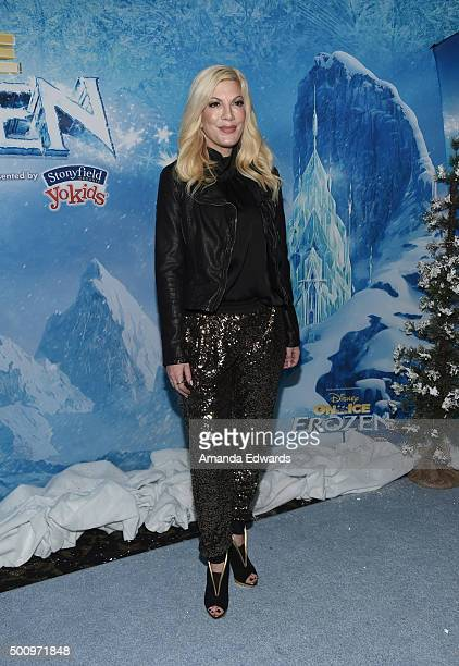 Actress Tori Spelling arrives at the premiere of Disney On Ice's 'Frozen' at Staples Center on December 10 2015 in Los Angeles California