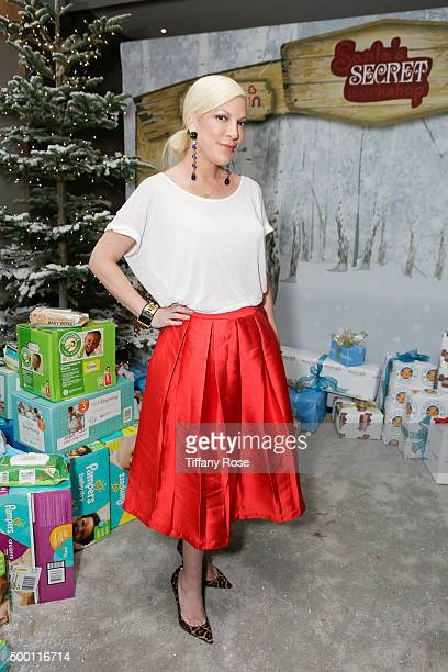 Actress Tori Spelling attends 2015 Santa's Secret Workshop Benefiting LA Family Housing at Andaz Hotel on December 5 2015 in Los Angeles California