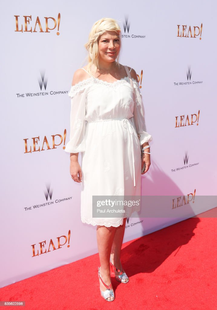 Actress Tori Spelling attends the premiere of 'Leap!' at the Pacific Theatres at The Grove on August 19, 2017 in Los Angeles, California.