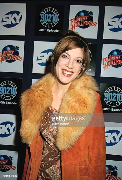 Actress Tori Spelling celebrates the 200th episode of 'Beverly Hills 90210' at Planet Hollywood in London, 22nd April 1997.