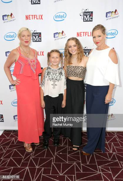 Actress Tori Spelling daughter Stella McDermott Host Jennie Garth and daughter Lola Ray Facinelli attend the Netflix Series Project Mc2 Part 5...