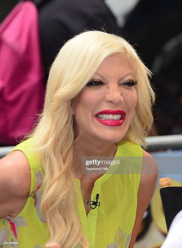 Actress Tori Spelling is seen is seen outside 'Good Morning America' on June 25, 2014 in New York City.