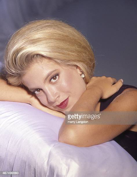 Actress Tori Spelling poses for a portrait in 1992 Los Angeles California