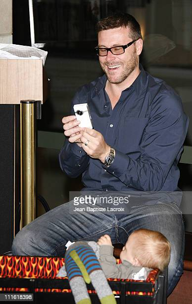 "Actress Tori Spelling's husband, Dean McDermott, and baby Liam attend a signing for Spelling's new book ""sTORI Telling"" at Barnes & Noble, The Grove..."