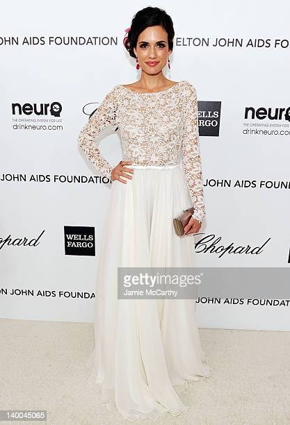Actress Torrey DeVitto arrives at the 20th Annual Elton John AIDS Foundation Academy Awards Viewing Party at The City of West Hollywood Park on...