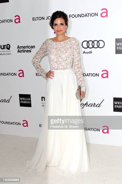 Actress Torrey DeVitto arrives at the 20th Annual Elton John AIDS Foundation's Oscar Viewing Party held at West Hollywood Park on February 26 2012 in...