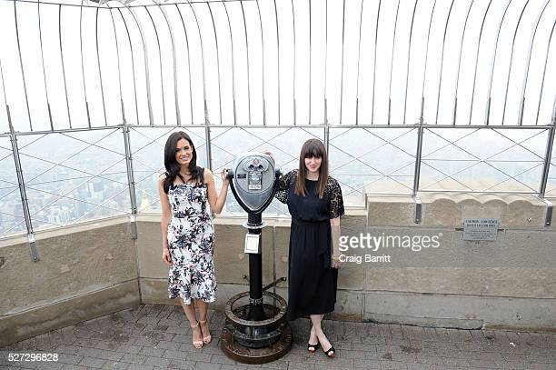 Actress Torrey DeVitto on behalf of The Hope Grace Initiative lights The Empire State Building Green in honor of Mental Health Awareness on May 2...