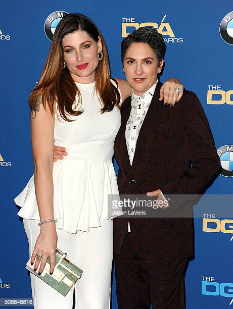 Actress Trace Lysette and director Jill Soloway attend the 68th annual Directors Guild of America Awards at the Hyatt Regency Century Plaza on...