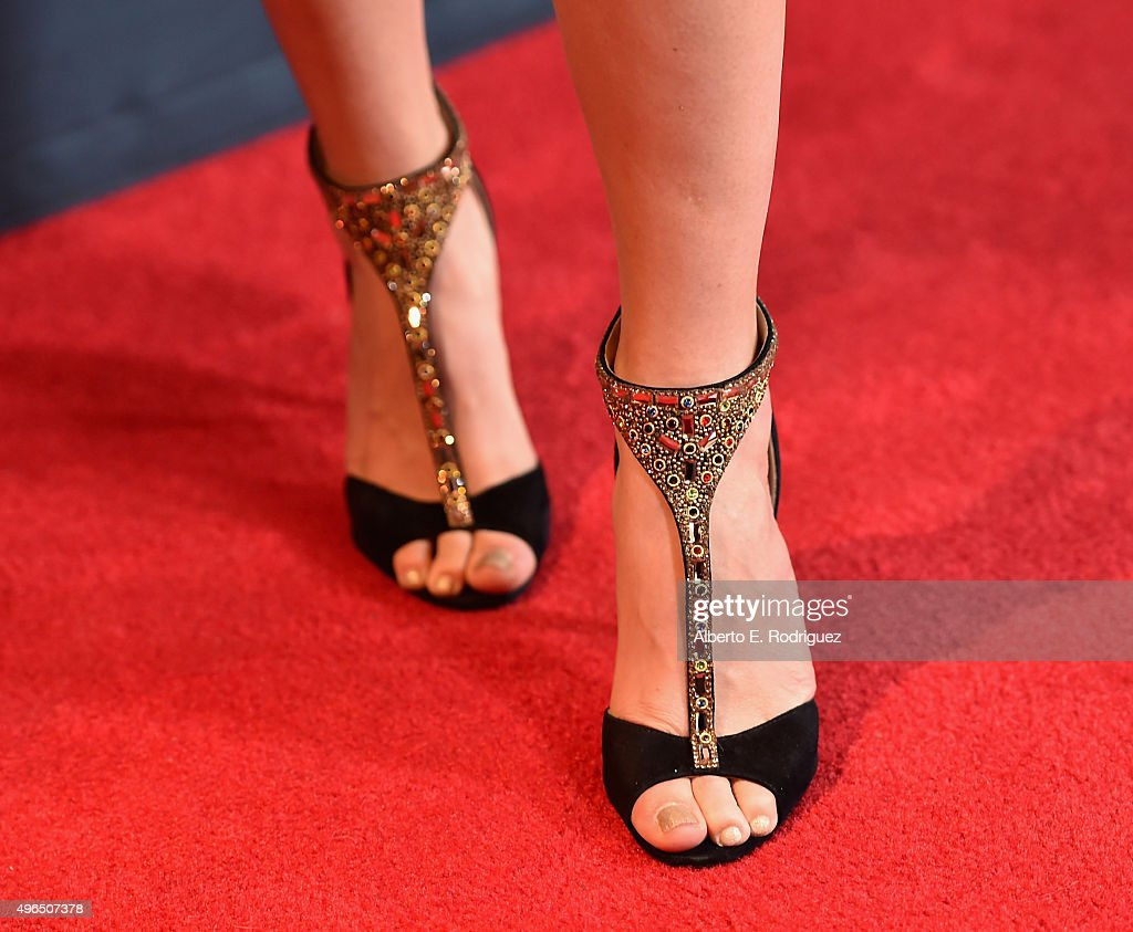 Actress Trace Lysette, shoe detail, attends the Premiere Of Amazon's 'Transparent' Season 2 at SilverScreen Theater at the Pacific Design Center on November 9, 2015 in West Hollywood, California.