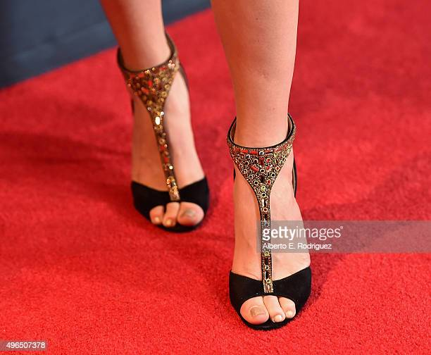 Actress Trace Lysette shoe detail attends the Premiere Of Amazon's 'Transparent' Season 2 at SilverScreen Theater at the Pacific Design Center on...