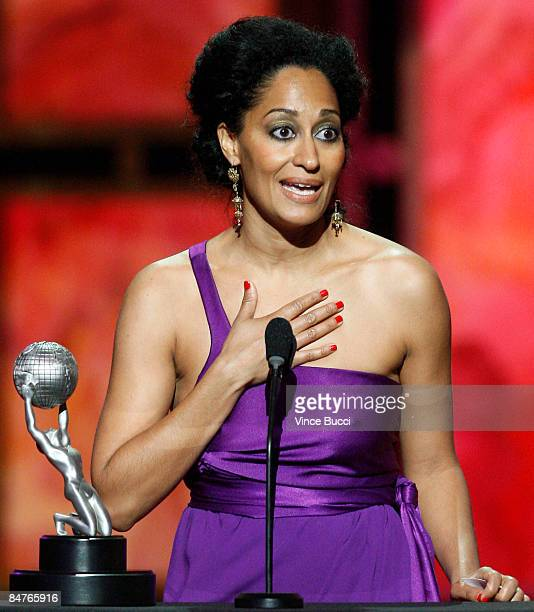 Actress Tracee Ellis Ross accepts the Outstanding Actress In A Comedy Series award for Girlfriends during the 40th NAACP Image Awards held at the...