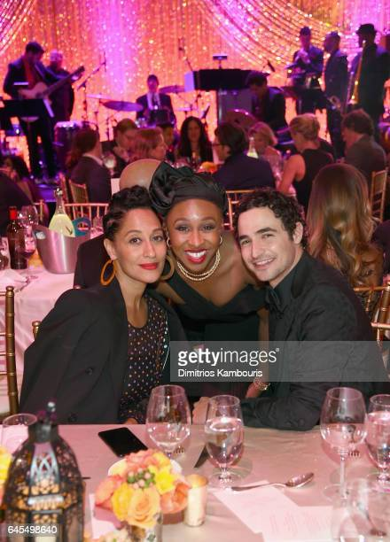 Actress Tracee Ellis Ross actress Cynthia Erivo and fashion designer Zac Posen attend The Weinstein Company's PreOscar Dinner in partnership with...