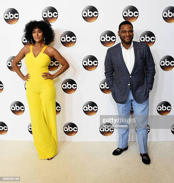 Actress Tracee Ellis Ross and actor Anthony Anderson attend the Disney ABC Television Group TCA Summer Press Tour on August 4, 2016 in Beverly Hills,...