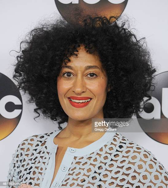 Actress Tracee Ellis Ross arrives at Disney ABC Television Group's TCA Winter Press Tour on January 14 2015 in Pasadena California