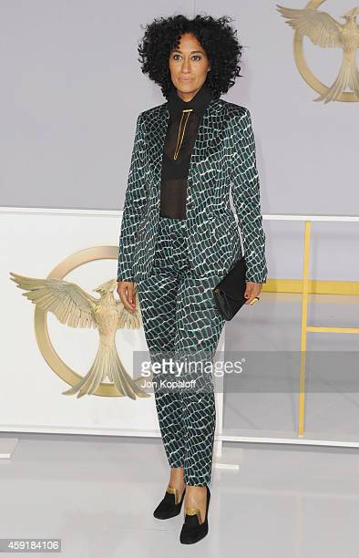 Actress Tracee Ellis Ross arrives at the Los Angele Premiere The Hunger Games Mockingjay Part 1 at Nokia Theatre LA Live on November 17 2014 in Los...