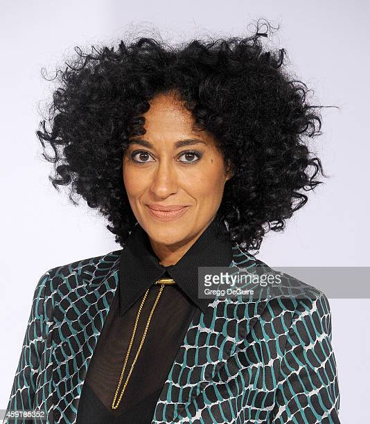 Actress Tracee Ellis Ross arrives at the Los Angeles premiere of The Hunger Games Mockingjay Part 1 at Nokia Theatre LA Live on November 17 2014 in...