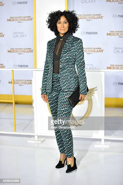 """Actress Tracee Ellis Ross arrives at the Los Angeles premiere of """"The Hunger Games: Mockingjay - Part 1"""" at Nokia Theatre L.A. Live on November 17,..."""