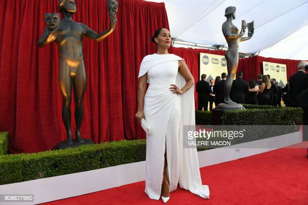 Actress Tracee Ellis Ross arrives for the 24th Annual Screen Actors Guild Awards at the Shrine Exposition Center on January 21 in Los Angeles...