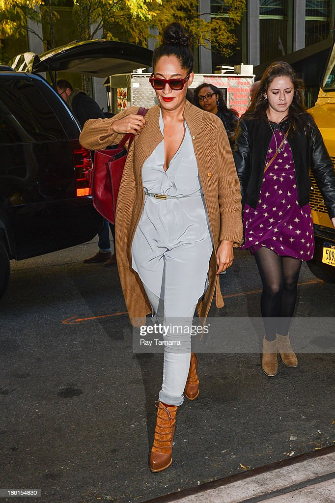 Actress Tracee Ellis Ross enters the Sirius XM Studios on October 28, 2013 in New York City.