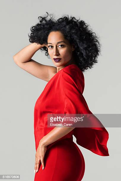 Actress Tracee Ellis Ross is photographed for Bust Magazine on September 26 2015 in Los Angeles California Jumpsuit shoes ring PUBLISHED IMAGE