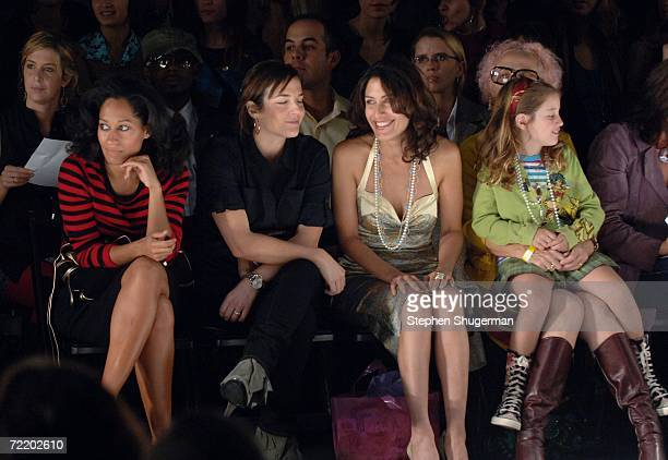 Actress Tracee Ellis Ross Lisa Edelstein and Designer Nony Tochterman in the front row at the Jennifer Nicholson Spring 2007 fashion show during...