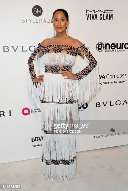 US actress Tracee Ellis Ross poses upon her arrival for the 25th annual Elton John AIDS Foundation's Academy Awards Viewing Party on February 26 2017...