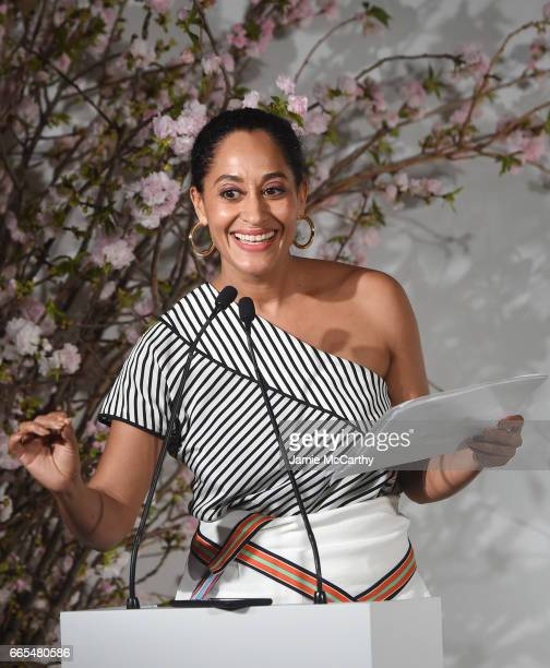 Actress Tracee Ellis Ross speaks onstage at the 2017 DVF Awards at United Nations Headquarters on April 6 2017 in New York City