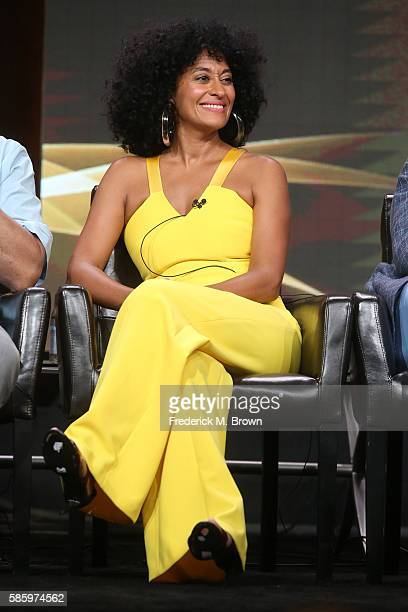 Actress Tracee Ellis Ross speaks onstage at the 'Blackish' panel discussion during the Disney ABC Television Group portion of the 2016 Television...