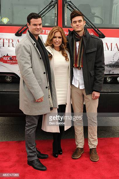 Actress Tracey Bregman with sons Austin Recht and Landon Recht at the Ride Of Fame New York ceremony at Pier 78 on April 7 2014 in New York City
