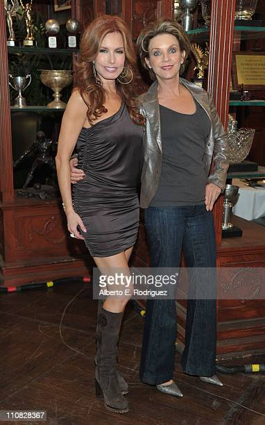 Actress Tracey E Bregman and actress Judith Chapman attend CBS' 'The Young and the Restless' 38th Anniversary cake cutting on March 24 2011 in Los...