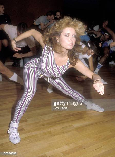Actress Tracey E Bregman attends the First Annual Aerobics Marathon to Benefit Victims for Victims on April 24 1983 at Santa Monica Athletic Club in...