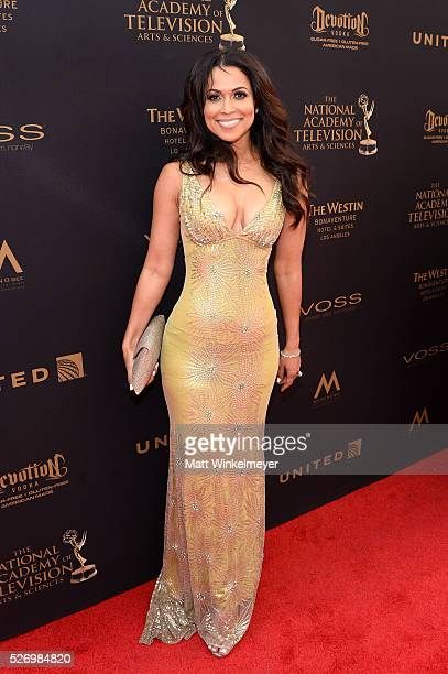 Actress Tracey E Edmonds walks the red carpet at the 43rd Annual Daytime Emmy Awards at the Westin Bonaventure Hotel on May 1 2016 in Los Angeles...