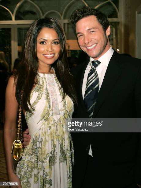 Actress Tracey Edmonds and chef Rocco DiSpirito attend the MercedesBenz Oscar viewing party held at the Four Seasons Hotel on February 24 2008 in...