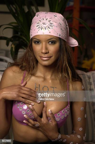 Actress Traci Bingham poses wearing ''Fire Flies'' rhinestones on her skin and bra placed by body decor artist TinaMarie Stoker April 5 2001 in...
