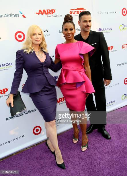 Actress Traci Lords actress Holly Robinson Peete and designer Rubin Singer attend the 19th Annual DesignCare 2017 at Private Residence on July 15...